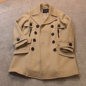 Longchamp Ladies Camel Colored Peacoat/Trench Coat
